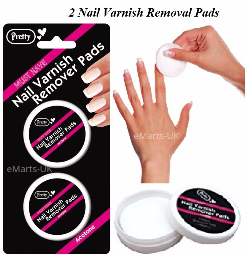 Pretty Nail Varnish Remover Pads 2x30 Acetone 60 Pads in Total | eBay