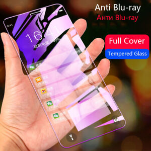 2X 9H Full Cover Blue Ray Tempered Glass Screen Protector For iphone X 6s 7 8 8+