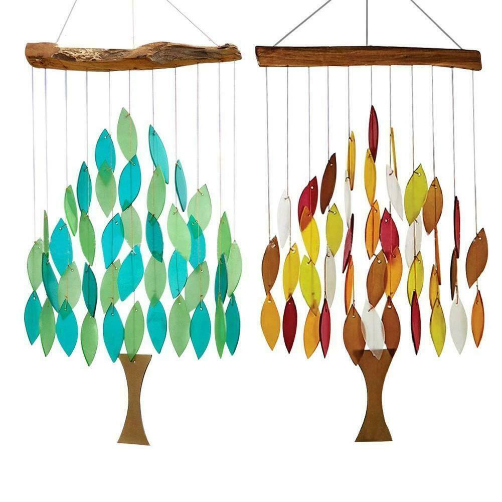 Rainbow Wind Chimes Beautiful Maple Pattern Rotatable Hanging Outside Porch N EW