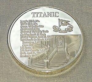 Titanic-Silver-Stair-Case-Coin-Medal-Sea-Ship-White-Star-Line-New-York-London-UK