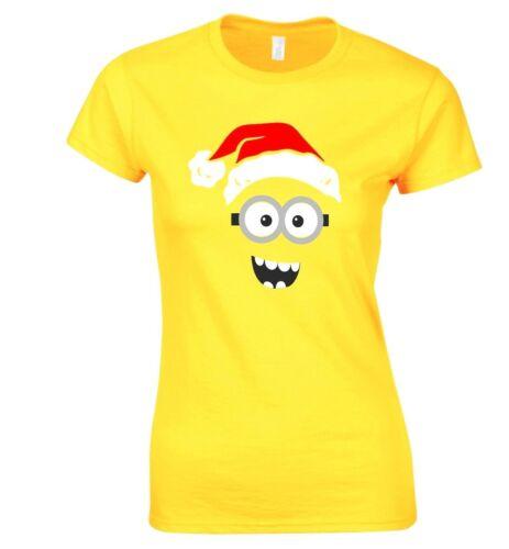 Ladies Christmas Happy Minion T-Shirt Funny Xmas Despicable Me Sizes 8-18