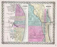 MAP ANTIQUE 1856 COLTON CHICAGO ST LOUIS CITY PLANS REPLICA POSTER PRINT PAM1758