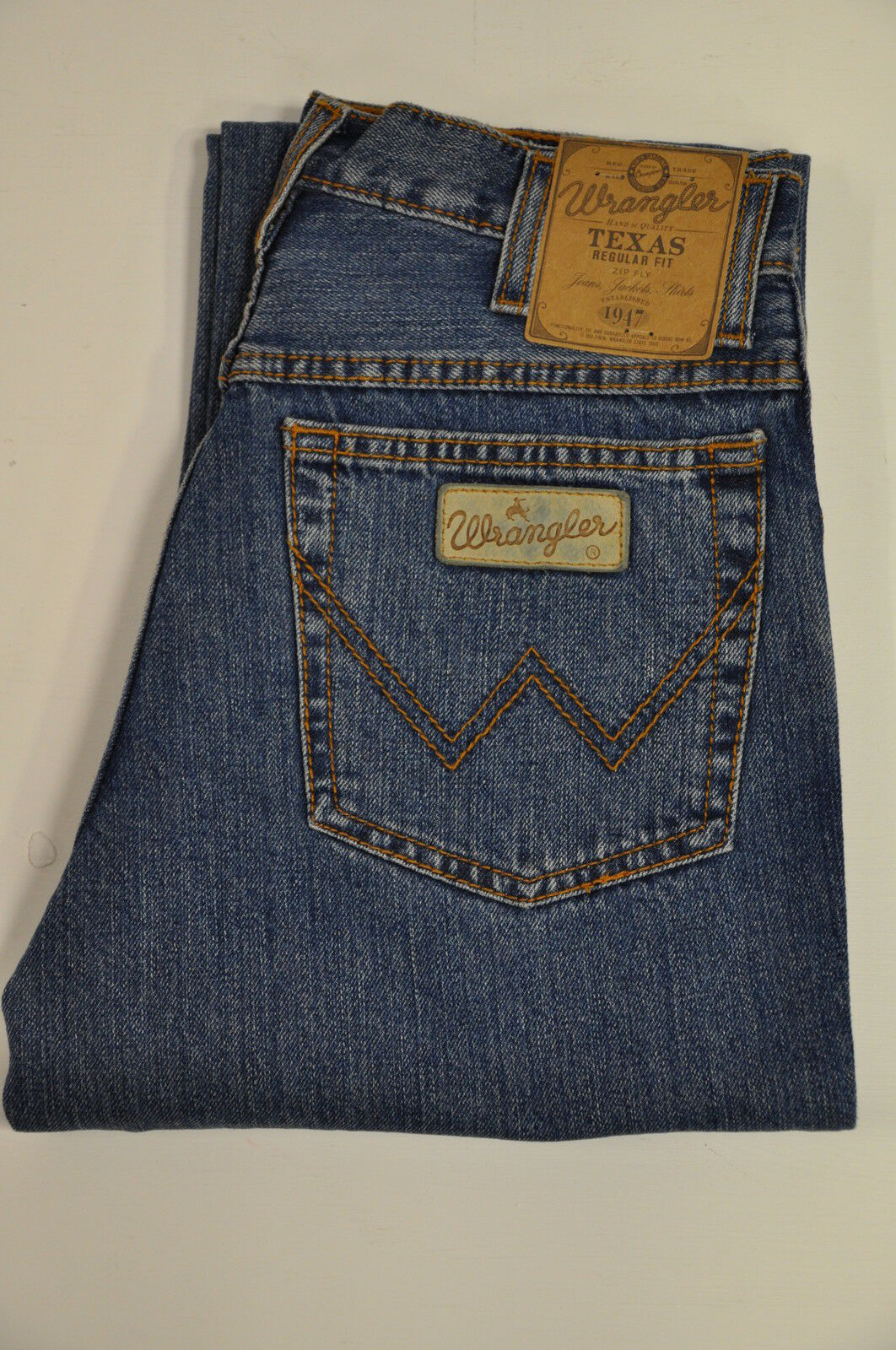 Mens Wrangler Texas Regular Fit Denim Jeans Stonewash