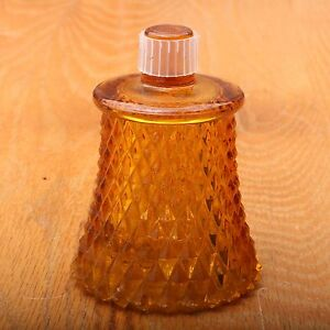 Vintage-Indiana-Glass-Diamond-Point-Amber-Glass-Votive-Cup-Candle-Adapter