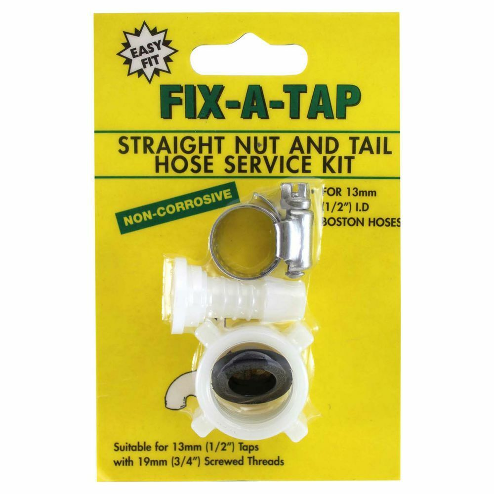 """Fix-A-Tap Straight Nut & Tail Hose Service Kit for 13mm (½"""" inch) Boston hoses"""
