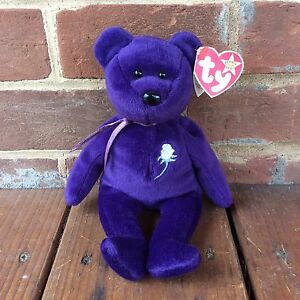TY Beanie Baby Purple PRINCESS Diana Bear White Rose PE Pellets ... 1cd259d436fb