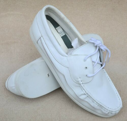ELITE Mens Melbourne White Leather Lace Up Bowls Shoes Ex Display Marks UK 14