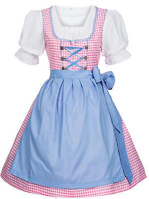 Dirndl Trachtenkleid 3tlg 34 bis 44 NEU 4501 Kleid Bluse Schürze Blau  Pink Gr