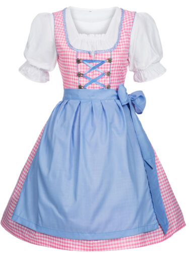 Dirndl Traditional Costume 3 Piece Dress Blouse Apron Pink Blue Size 38 42 New