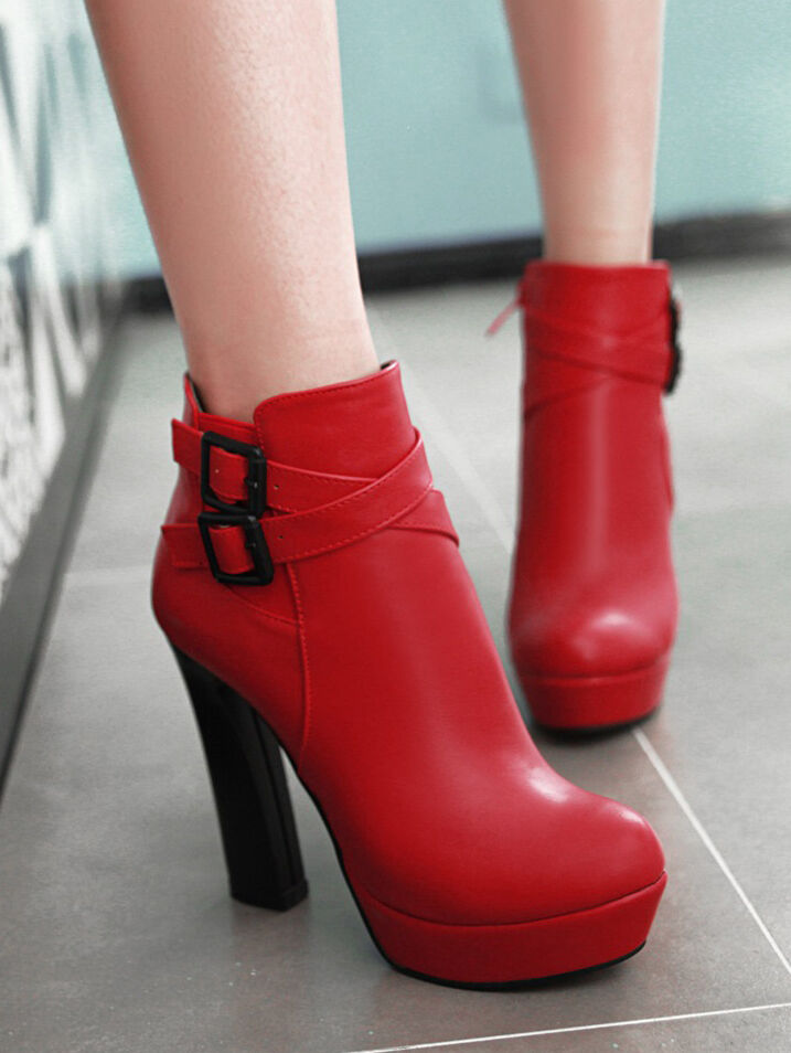 boots Damens's schuhe heel 12.5 ROT like Leder warm comfortable 8282