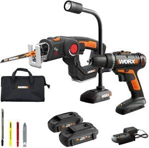 WORX-WX912L-20V-Cordless-Drill-Driver-AXIS-Saw-amp-20V-Flexible-Light