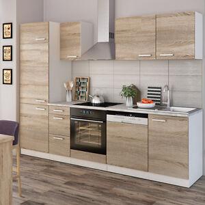 vicco k che 270 cm k chenzeile k chenblock einbauk che komplett sonoma eiche ebay. Black Bedroom Furniture Sets. Home Design Ideas