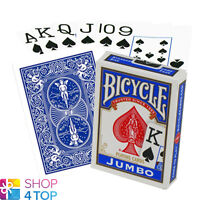 BICYCLE RIDER BACK JUMBO PLAYING POKER CARDS DECK BLUE MADE IN USA ORIGINAL NEW