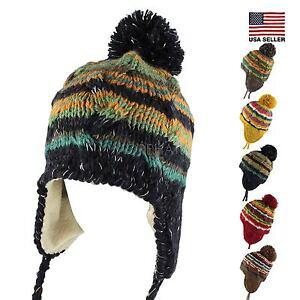 4964b3a4efc Multi Stripe Knit Pom Pom Trapper Beanie Warm Winter Hat with String ...