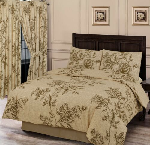 Wild Rose Natural Floral Leaves Beige Tan Criss Cross Thatch Bedding or Curtains