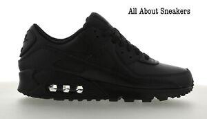 Nike-AIR-MAX-90-in-Pelle-Nera-Black-Uomo-Scarpe-da-ginnastica-LIMITED-STOCK-Tutte-le-Taglie
