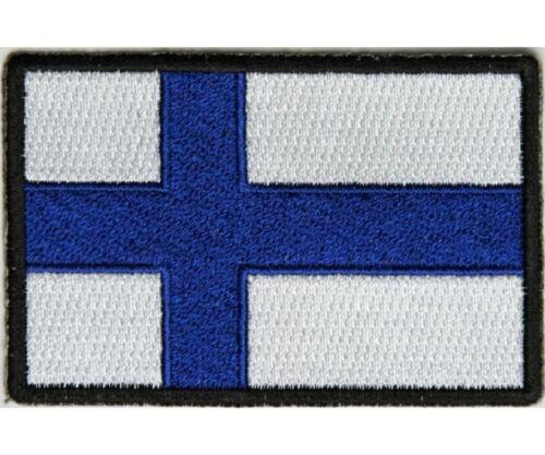 "Biker Finnish H29 5192 FINLAND FLAG 3/"" x 2/"" iron on patch"