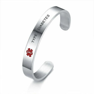 Men Women Medical Alert ID Bracelet Stainless Steel Engraved TYPE 2 DIABETES