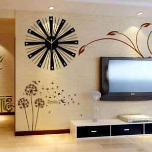 Details About Modern Luxury Wooden Wall Clock Large Home Office Decor Wall  Mount Wall Clocks