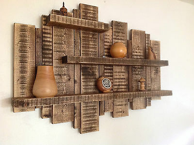 SALE ** LARGE WALL MOUNTED RUSTIC FLOATING SHELF SOLID WOOD DISPLAY UNIT SHELVES