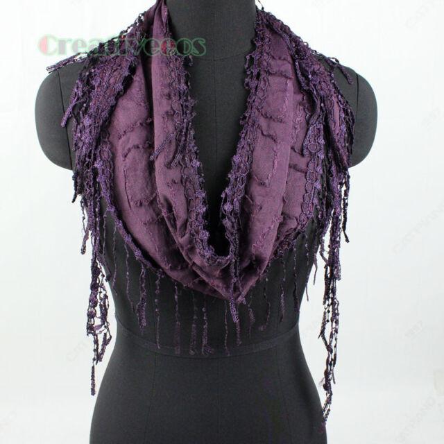New Stylish Sexy Fashion Triangle Thin long Plaid Scarf With Lace Trim Tassel