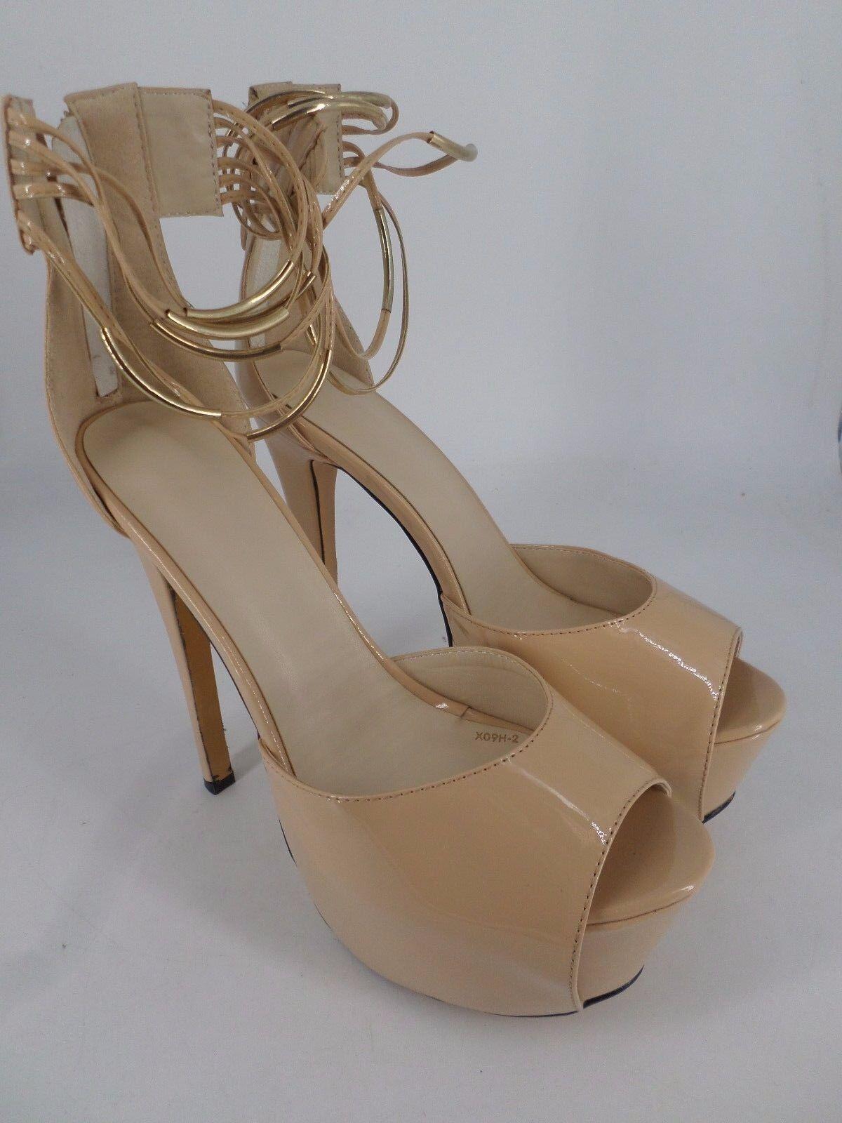 Shoe Strap Pie Apricot Platform Ankle Strap Shoe Peep Toe Heels UK 7 EU 41 LN27 32 8aeb14