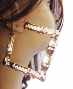 Image Is Loading Large Hoop Earrings Square Bamboo 4