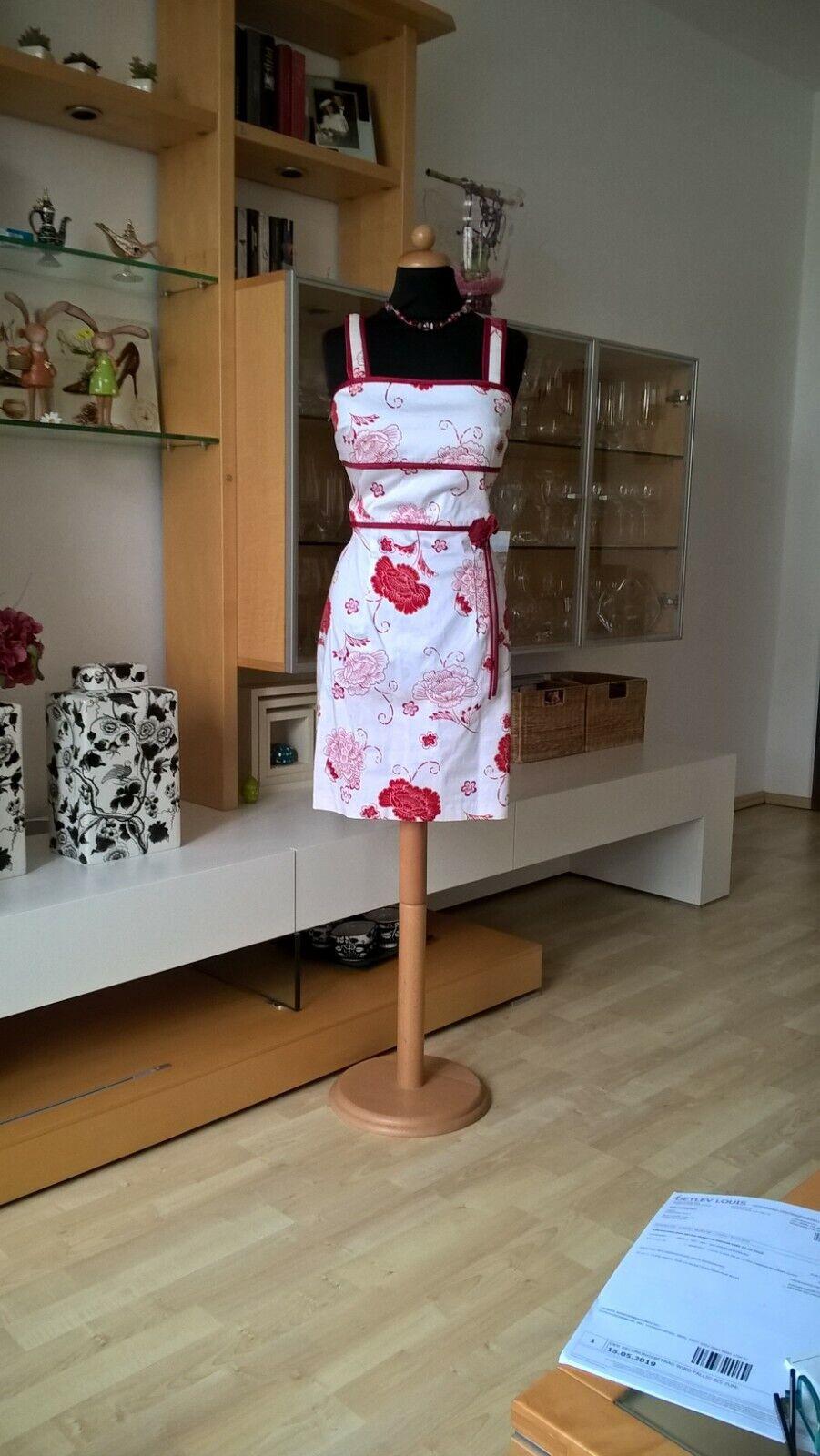 JOSEPH RIBKOFF Kleid Gr 38 weiß rot Blaumen Japanese Style Baumwolle Spandex