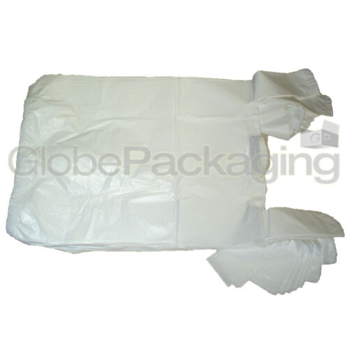 """5000 x WHITE PLASTIC CARRIER BAGS 10x15x18/"""" 12mu OFFER *24HR DELIVERY*"""