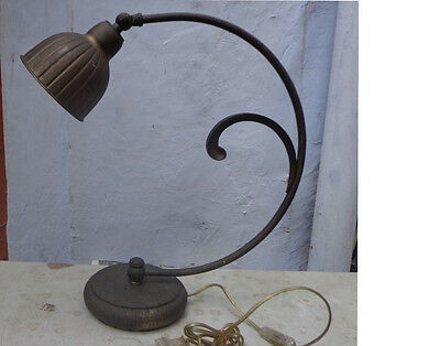 1920s Art Noveau Large Electric Table Lamp Brass