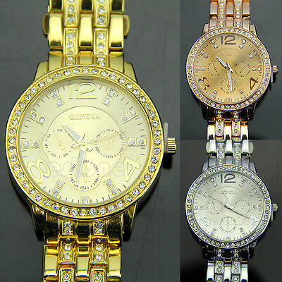 Fashion Luxury Gold Crystal Quartz Rhinestone Men Lady Women Wrist Watch