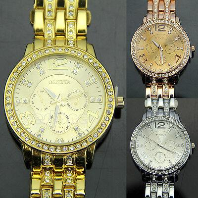 Fashion Luxury Gold Crystal Quartz Rhinestone Men Lady Women Wrist Watch