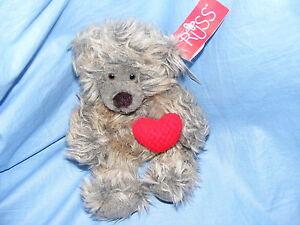 Russ-Berrie-Ours-en-peluche-Smooches-4947-de-collection-rare-ourson-avec-coeur