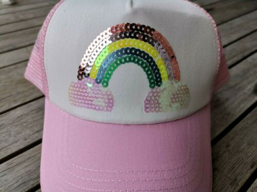 Seed Heritage Girls Pink Cotton Rainbow Sequin Cap Hat One size Yr 2-10