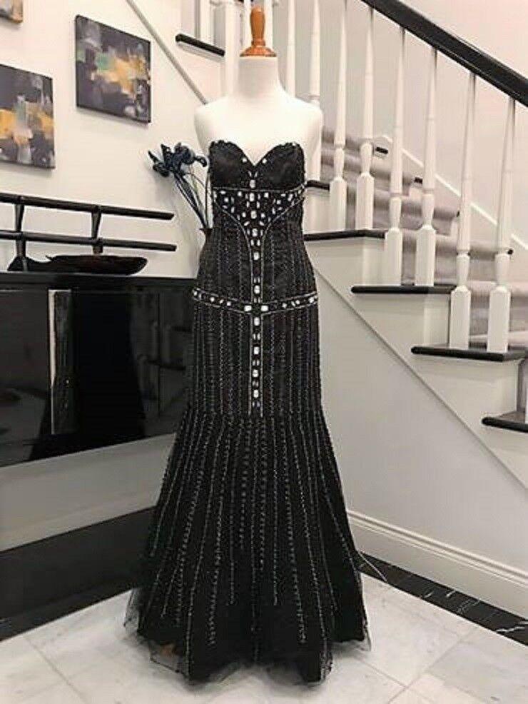 Clearance Noir Perles Longue Robe de bal Pageant robe deux pièces Nouveau 8 IN (environ 20.32 cm) Stock