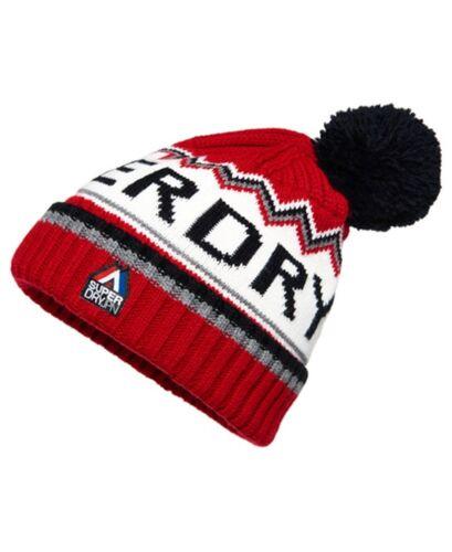 Superdry Men/'s Beanie Bobble Hat Chevron Logo Knit Beanie One Size Red