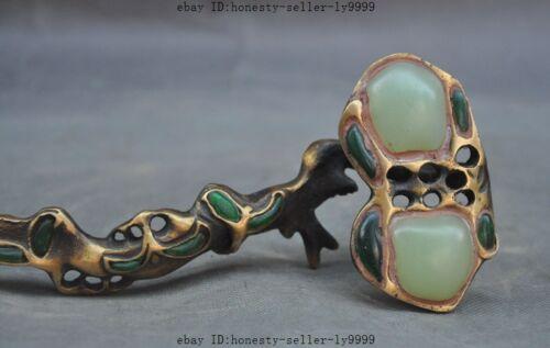china bronze Inlay jade fengshui Auspicious wealth statue Adornment Wishful Ruyi