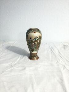 Antique-JAPANESE-SATSUMA-Ceramic-Vase-HAND-PAINTED-SIGNED