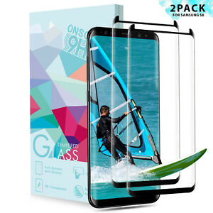 2x-3D-Panzerfolie-fuer-Samsung-Galaxy-S8-Schutzglas-Full-Screen-Display-Hart-Glas