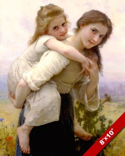 BEAUTIFUL YOUNG GIRL WOMAN CARRYING LITTLE SISTER PAINTING ART REAL CANVAS PRINT