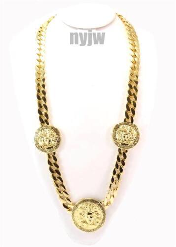 "Hip Hop GOLD Drake Grecque Medusa 3 Médaillon 30/"" CUBAN link chain KMC002-1G"