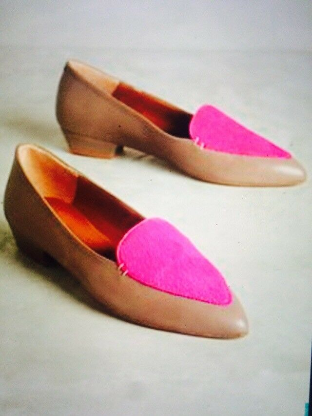 NEW 39 8.5 ANTHROPOLOGIE EMMA GO PONYMAN OXFORDS ANIMAL COWHIDE COWHIDE COWHIDE PINK BEIGE SHOE 285517