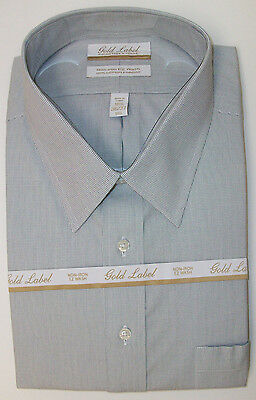 Roundtree /& Yorke Gold Label Non Iron Plaid Grid Dress Shirt Gray Black  $75 NWT