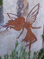 Edelrost Elfe Auf Stab Dekoration Garten Terrasse Beet Figur Fee Flügel