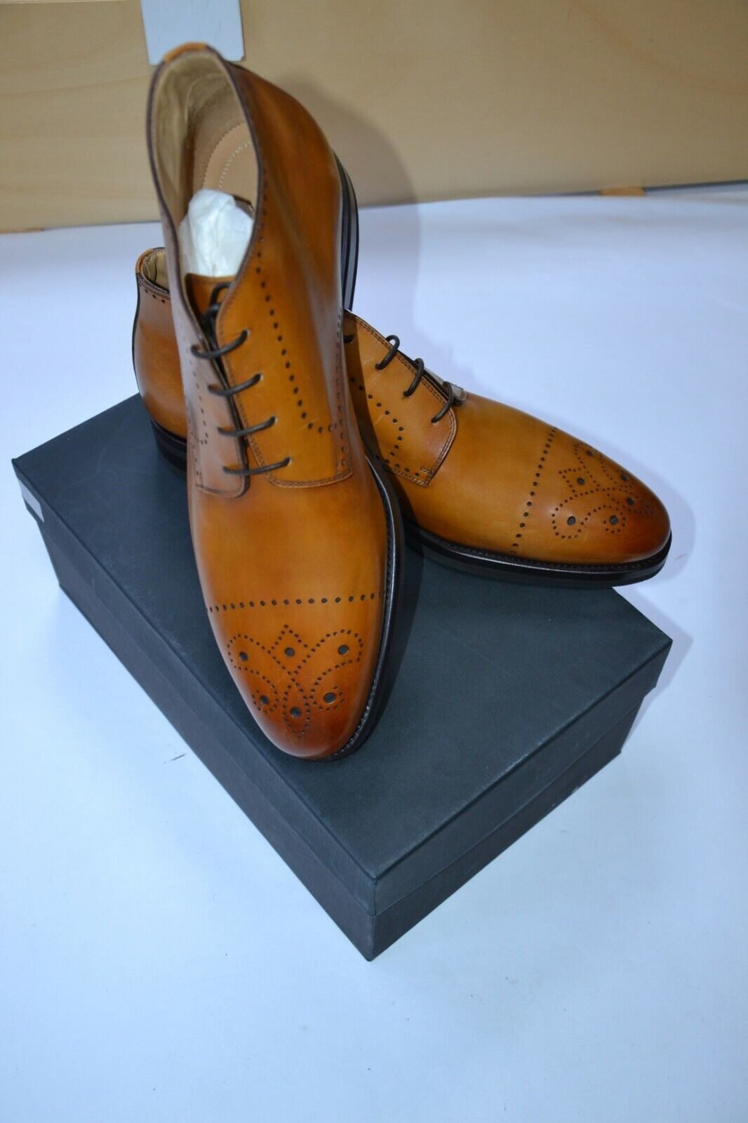 NWB KITON Napoli mens dress leather shoes size EU 42 UK 8 US 9