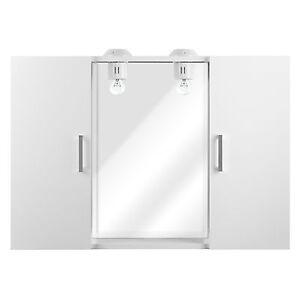 Specchio Bagno Bianco.Specchio Bagno Moderno Con 2 Ante 84x58x15 Cm Bianco Lucido Con