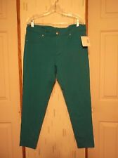 Joe Boxer Woman's Size XL Peacock Blue Stretch Knit Skinny Straight Casual Pants