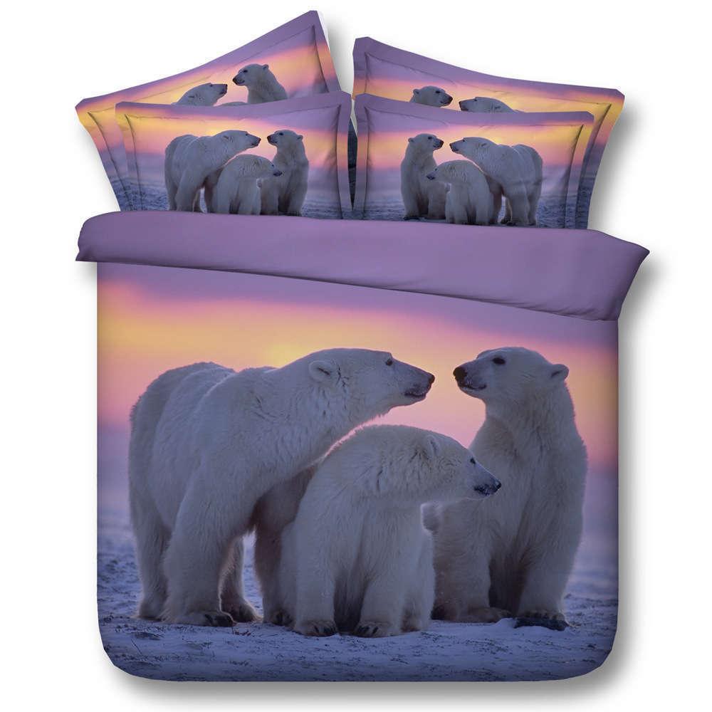 Polar Bear Family 3D Printing Duvet Quilt Doona Covers Pillow Case Bedding Sets