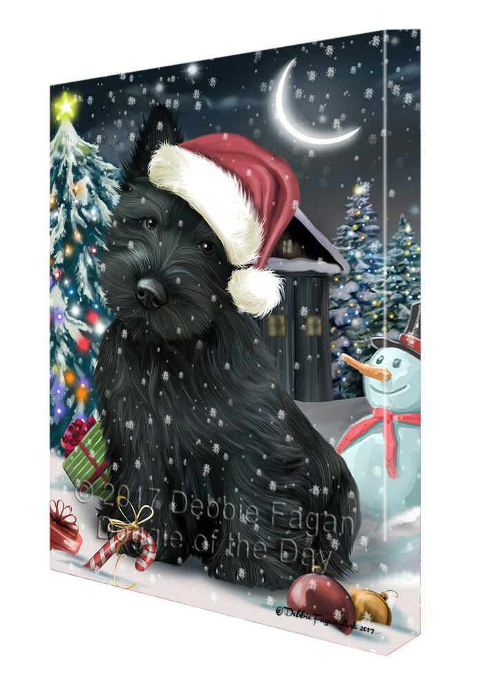 Holly Jolly Christmas Scottish Terriers Dog in Holiday Canvas Wall Art T162