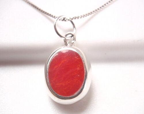 Réversible Corail Rouge et Nacre 925 Argent Sterling Ovale Pendentif